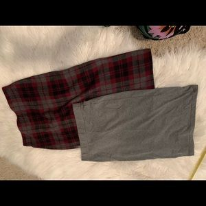 S skirts 1. Plaid Abercrombie 2. Grey forever21